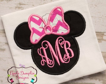 Minnie Mouse Head with Bow Appliqué Embroidery Design, Cute, Girl, Birthday, Bow, Birthday Party, Girly, Monogram, 4x4, 5x7, 6x10, 9x9