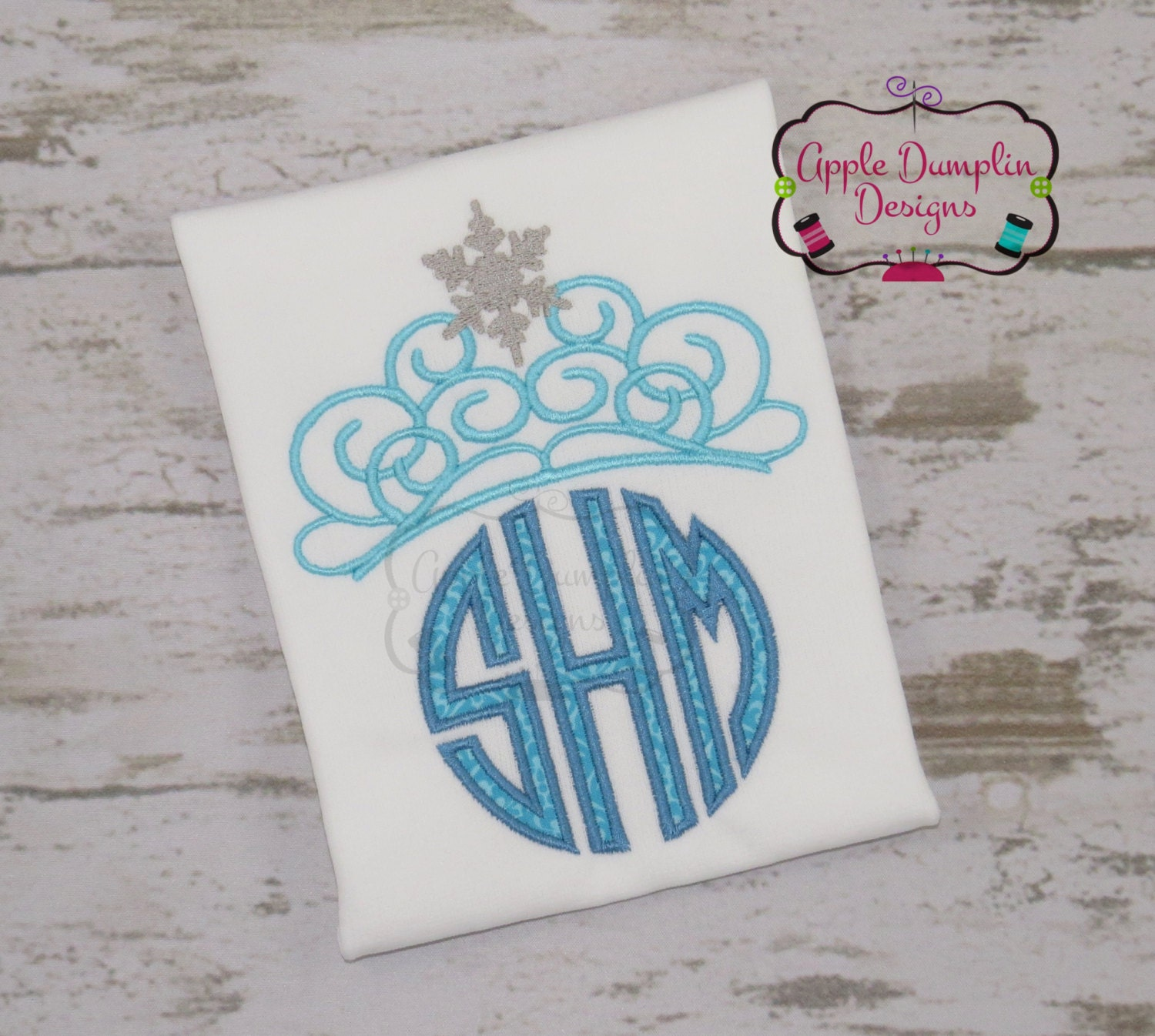 Snowflake Tiara Machine Embroidery Design Applique Monogram | Etsy