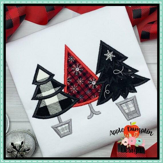 Christmas Tree Trio: Christmas Tree Trio Applique Design Machine Embroidery