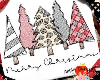 Merry Christmas Tree, Leopard, Pattern Sketch,  Embroidery Design, Girl Christmas, 5x5, 5x7, 6x10, 8x8, 9x9