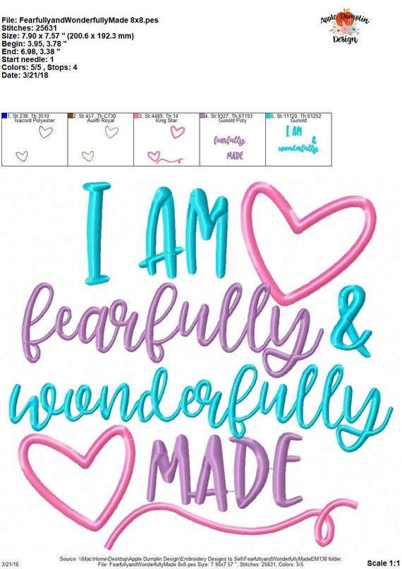 Exclusive I Am Fearfully And Wonderfully Made Applique