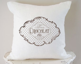 French Pillow Cover. French Country Pillow Cover. Shabby Chic Pillow. French Country. Chocolate Decor. Cottage Pillow.