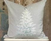 Light Blue Christmas Tree Velvet Pillow Cover, Shabby Cottage Chic Holiday Decor, Farmhouse Kitcsh.