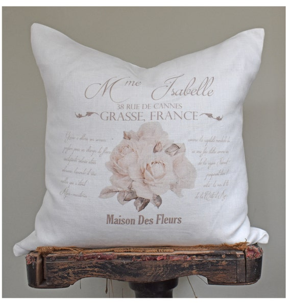 French Linen Pillow Cover Shabby French