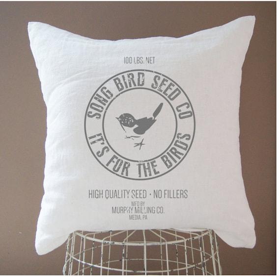 Personalized Linen Bird Pillow Cover Grain Sack Home Decor Etsy