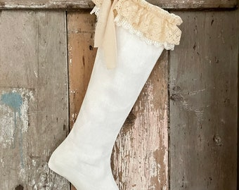Ruffle Linen & Lace Christmas Stocking, Shabby Cottage Chic White Holiday Decor, French Country Farmhouse.