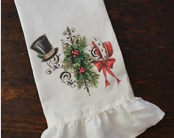 Victorian Christmas Tea Towel, Holiday Ruffle Dishtowel, Vintage Farmhouse Kitchen, Shabby Chic Cottage.