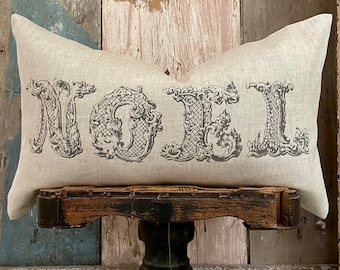 """Noel Beige Christmas Lumbar Pillow Cover, Farmhouse Holiday Linen Pillow, Shabby Cottage Chic, 12"""" x 20"""""""
