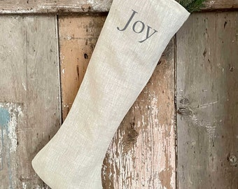Beige Long Linen Joy Christmas Stocking, Shabby Cottage Chic Holiday Decor,  Vintage Style French Country Farmhouse.