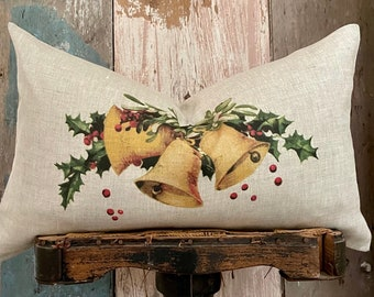 """Beige Christmas Bells Lumbar Pillow Cover, Farmhouse Holiday Linen Pillow, Shabby Cottage Chic, 12"""" x 20"""""""