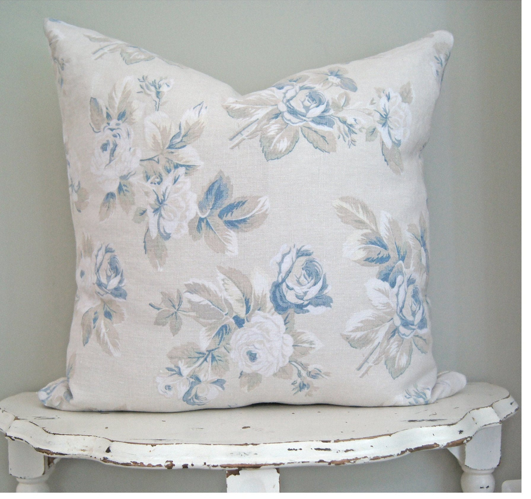 Blue Floral Pillow Cover Shabby Chic Decor Muted Floral | Etsy