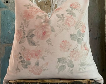 """Shabby Floral Velvet Pillow Cover, Blush Pink French Country Rose Pillow, Cottage Chic, Swedish Farmhouse, 18"""" x 18"""""""