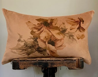 """Floral Velvet Lumbar Pillow Cover, Vintage Decorative Gold Throw Pillow, French Country Decor, Cottage Chic, 12"""" x 20"""""""
