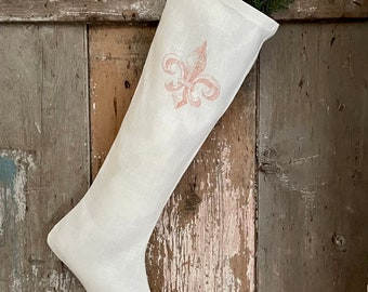 Fleur de Lis Long Linen Christmas Stocking, Shabby Cottage Chic Holiday Decor, Vintage Style French Country Farmhouse.