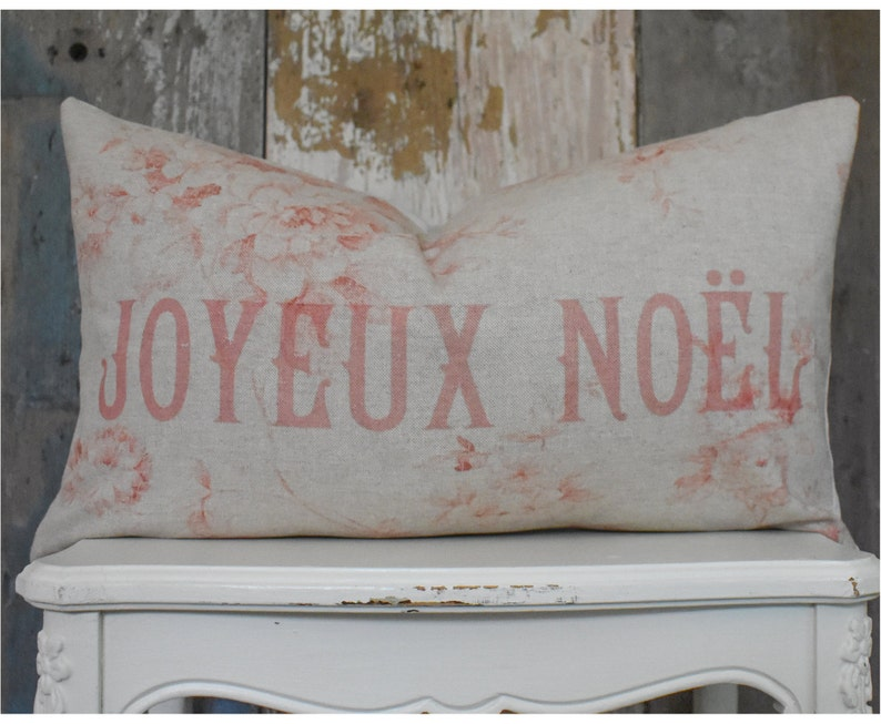 Shabby Holiday Linen Pillow Cottage Chic Joyeux Noel Lumbar Christmas Pillow Cover Red and Pink French Decor.