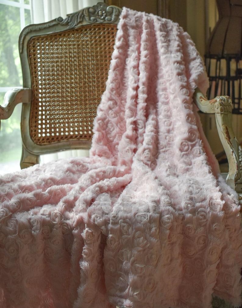Pink Fur Throw. Elegant Throw. Photography Prop. Romantic image 0