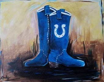 "Colt's Boots, art 16x 20""wide acrylic painting, handmade,  stretched, backstapled canvas, home decor wall art, Ships Free! Football NFL Team"