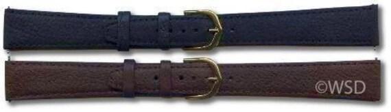 Extra larga acolchada correa venda de reloj de cuero negro y  4f50c2abd5a