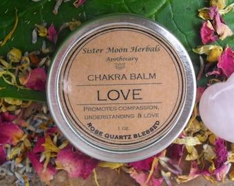 Love - Chakra Balm, Healing Balm, Energy Balm, Organic Balm, Crystal Essence, Rose Quartz, Anahata, 4th Chakra, 1 oz.