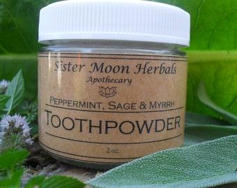 Toothpowder - Peppermint, Sage & Myrrh  2 oz. - Whitening - ReMineralizing- Refreshing-Healing