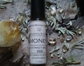 Money Oil, Citrine Roll-On Essential Oil, Magical Money Drawing Oil, Patchouli & Cedar Oil