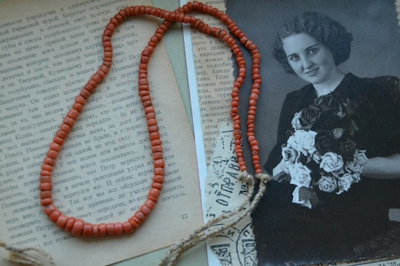 Coral necklace, Antique coral beads, Natural coral