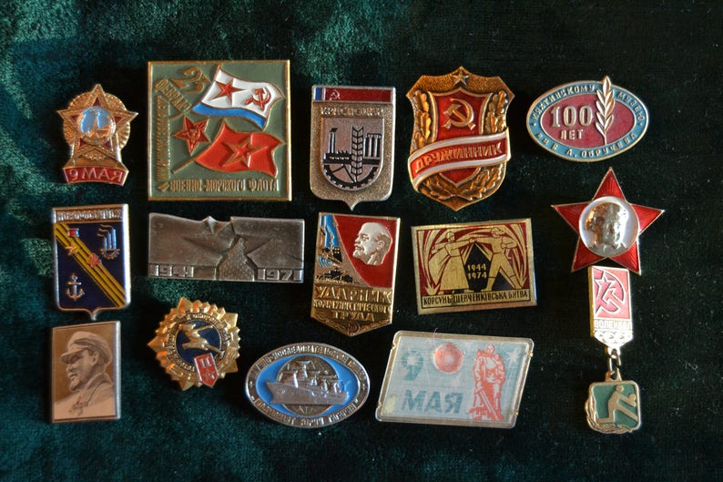 15 Soviet propaganda pins, Vintage Communist pins, Winner in Socialist  Competition, Collectibles, Made in USSR, Vintage Suit Making Supplies