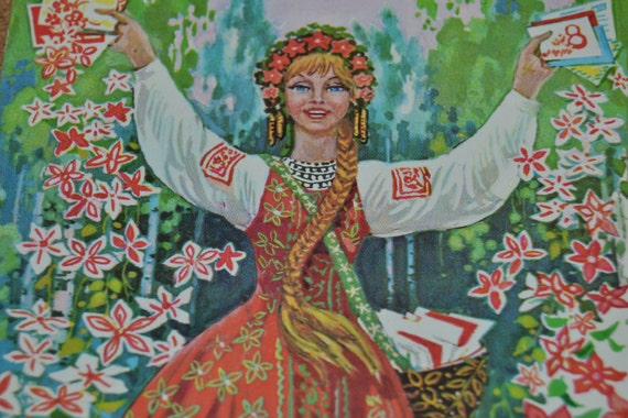 Vintage soviet unsigned postcard, retro postcard, illustration, collectible paper, March 8th/International Women's day cards, USSR postcards