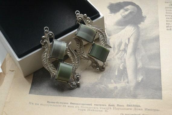 Green jasper earrings, Vintage silver earrings, Lo