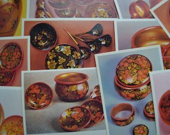 SALE! 12 Soviet Vintage Postcards, Khokhloma, Russian Art, Vintage Prints, Russian Postcards, Khokhloma Folk Art Postcards, Printed in USSR