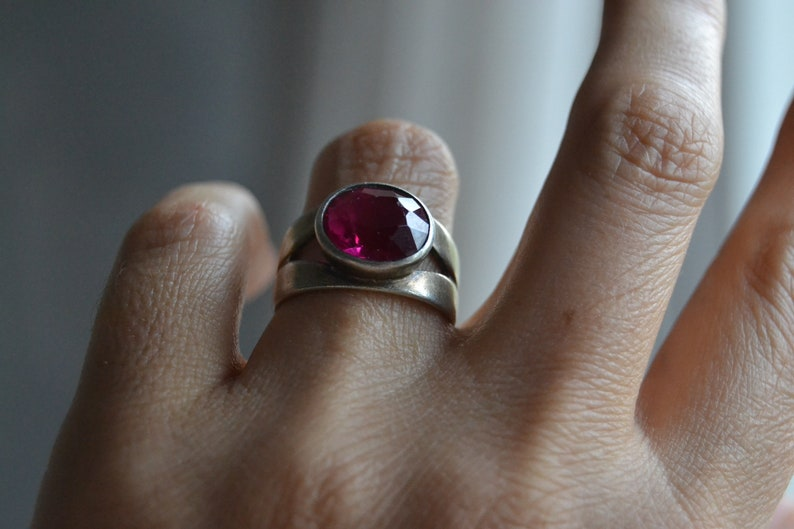 Soviet vintage solid silver synthetic ruby ring Cocktail ring Soviet silver jewelry Russian silver jewelry Soviet sterling silver ring