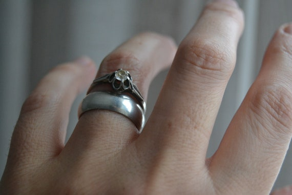 Minimalist Ring Heavy Silver Ring Mothers Day Gifts Open Circle Ring RAW STONE RING Silver Midi Ring