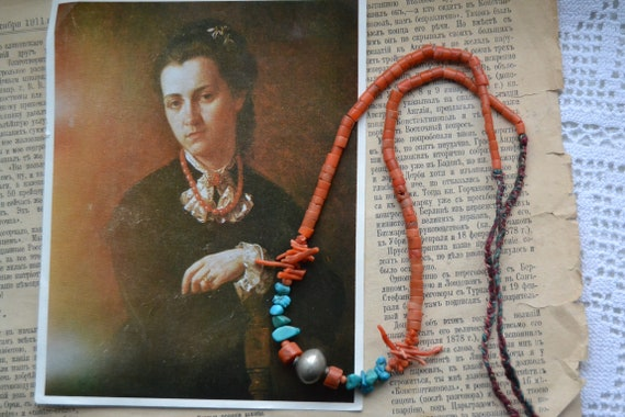 Natural coral necklace, Mediterranean coral, Antiq