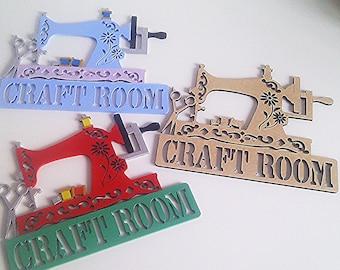 Personalised Sewing Room Door Wall Metal Sign Room Plaque Gran Mum Daughter