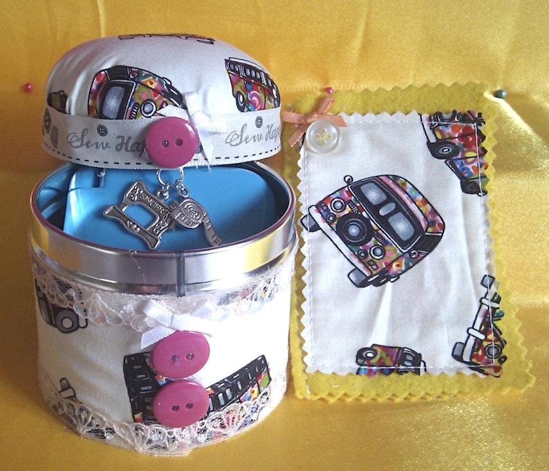 Novelty 'Camper Van' Themed Sewing Gift Set: Pin Cushion  Tin,Needlecase+Sewing Kit, Seamstress Gift, Small Sewing Set, Fun Sewing  Gift Set
