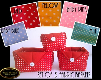 Set of 3 Fabric Storage Baskets, Polka Dot Baskets, Fabric Containers, Versatile Fabric Boxes, Multi Purpose Baskets, Handy Containers