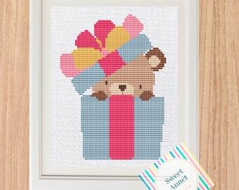 Happy Birthday Teddy Bear Cross Stitch Pattern Gift For Etsy