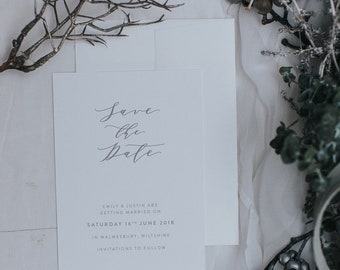 Modern calligraphy style Save the Date - Save the Date card with Envelopes - Printed Save the Dates
