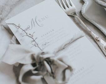 Script style wedding menu card. Wedding table decor.