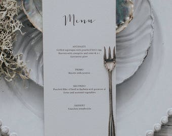 Calligraphy style wedding menu card. Wedding Menu template. Personalised Dinner Menu. Wedding Place Setting
