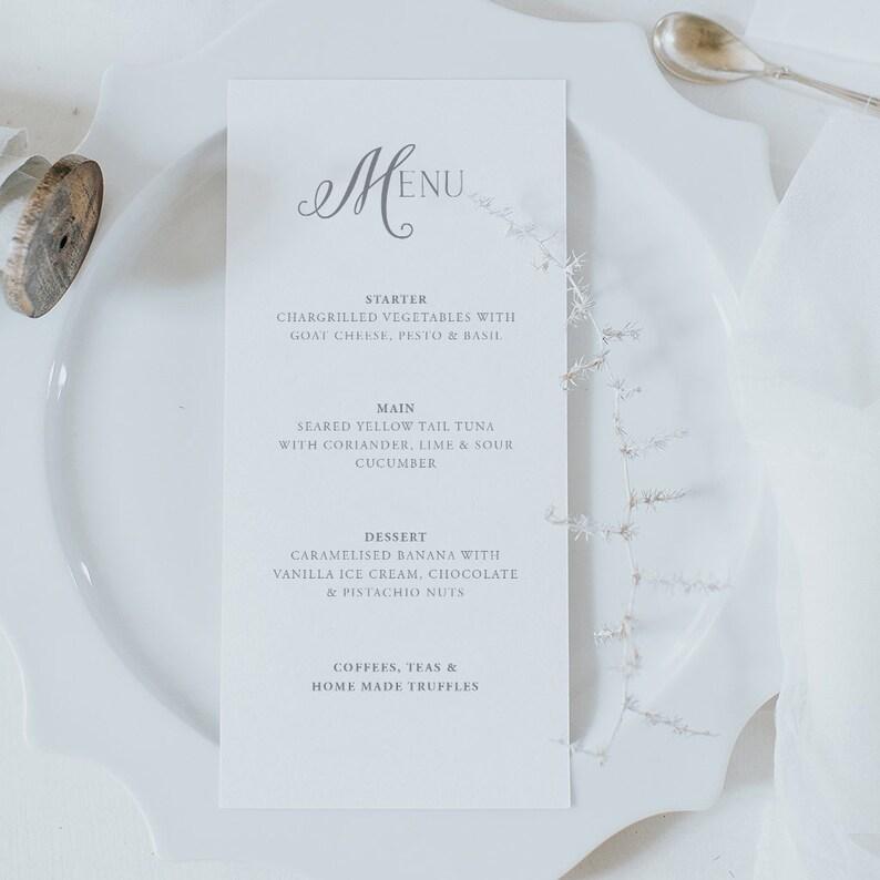 Grey Font Wedding Menu Card Wedding Menu Template Etsy