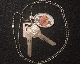 Supernatural Warding Protection Symbol Impala Necklace with Original GM Keys