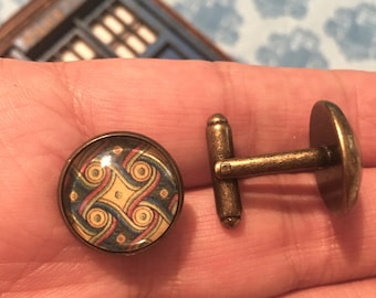 Gallifrey One Antique Bronze-tone Marriot Carpet Photo Cabochon Cuff Links Doctor Who