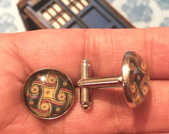 Gallifrey One Silver-tone Marriot Carpet Photo Cabochon Cuff Links Doctor Who