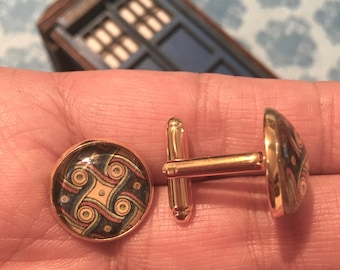 Gallifrey One Gold-tone Marriot Carpet Photo Cabochon Cuff Links Doctor Who