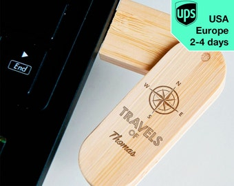 Travels - Personalised USB flash drive, Laser Engraved Pendrive