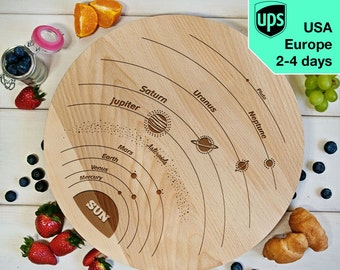 Astro - Rotating Serving Board, Laser Engraved Pizza Board