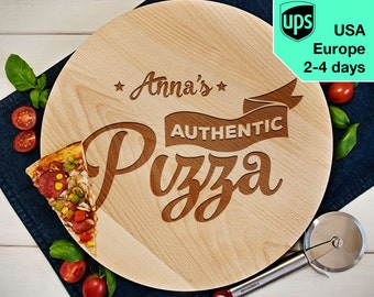 Authentic Pizza - Personalised Rotating Serving Board, Laser Engraved Pizza Board