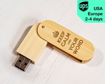 Keep Calm - Personalised USB flash drive, Laser Engraved Pendrive