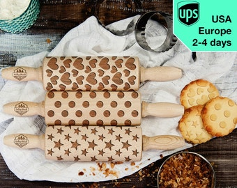 Shapes - Set of 3 MINI rolling pins - small laser engraved rolling pins